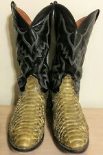 Vintage Nocona Snakeskin Cowboy Boots Giant Scale Anaconda Sz 12 Excellent