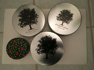 4 Decorative Silver Cookie Candy Tins