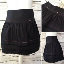 River Island Black High Waisted Summer Short Mini Skirt Size 8 UK
