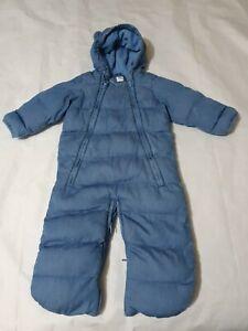 6-9 months Boys Snowsuit GAP blue damaged please read! Fleece lined padded (12)