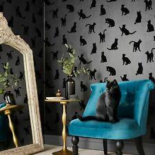 Laurence Llewelyn-Bowen Roccocat Black Flocked Designer Wallpaper