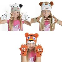Kids Animal Hat & Mitten Warm Winter Gloves Beanie Set Fun Time Christmas Xmas