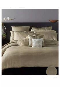Donna Karan Reflection Gold King Duvet Cover,2Shams,Fitted,Flat Sheet,Bedskirt.