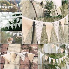 Hessian Flag Banner Bunting Rustic Wedding Birthday Party Burlap Decorations