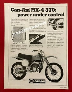 Vintage Motocross Motorcycle Magazine Ad Can-Am MX-4 370 250