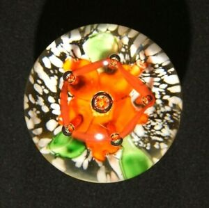 Beautiful Vintage Orange Flower With Red Lattice and Bubbles Paperweight