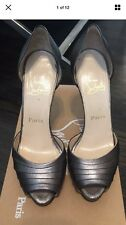 Christian Louboutin Armadillo 38.5/8 Silver Pewter peep toe leather 120 heels