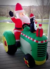 Large Santa Claus on Tractor With Penguin Self Inflates Christmas Yard Decor