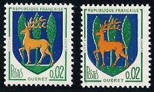VARIÉTÉ  N°:1351 B ( Cerf jaune-clair + cerf jaune orange ) Gueret - Neufs  !