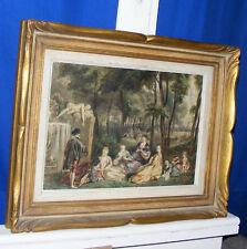 "Antique Painting ""Picnic"" Sketch Work A Watteau Signed"