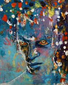 "ALIEN 16x20"" Oil Painting Portrait Extraterrestrial Scifi Original Art M.Creese"