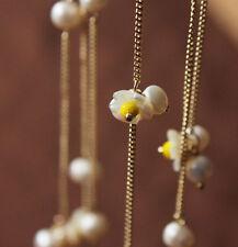 Collier Sautoir Tres Longue Perle de Culture d`Eau Douce Fleur Nacre Jaune TZ