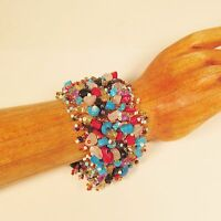 6PC Handmade Beaded Multi Color Gemstone Woven Fashion Bracelets WHOLESALE LOT