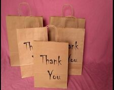 Gift Small Paper Printed Brown Bags ,Wedding ,Christmas -Thank You, Two Sizes