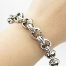 """Italy Milor 925 Sterling Silver Wide Thick Rolo Link Bracelet 8"""""""