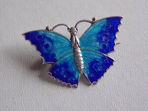 Beautiful Vintage Light & Dark Blue Enamel Sterling Silver Butterfly Brooch