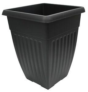 42cm Tall Square Plastic Plant Pot Flower Planter Black Rippled Design
