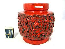 Well shaped 70´s design Otto Keramik Fat Lava pottery vase original label 16 cm
