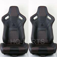 2 X TANAKA PREMIUM BLACK CARBON PVC LEATHER RACING SEATS + RED STITCH FITS BMW