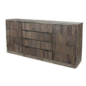 "75"" W Myer Sideboard Artisan Finished Reclaimed Wood Iron Hardware Modern"