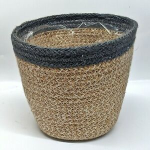 """Woven Plant Pot Beige with Grey Blue Trim 6"""" x 5"""" (Green Circle Growers Ohio)"""