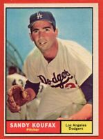 1961 Topps #344 Sandy Koufax NEAR MINT HOF Los Angeles Dodgers FREE SHIPPING