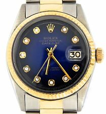 Rolex Datejust Mens 2Tone 14k Gold & Stainless Steel Blue Vignette Diamond 1601