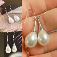Beautiful Classic 925 Sterling Silver Plated Pearl Drop Dangle Hook Earrings