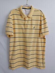 Nautica Mens Polo Shirt Yellow Striped Performance Deck Shirt Cotton Blend 2XL