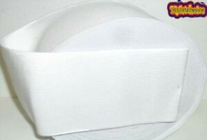 WHITE HIGH QUALITY WOVEN ELASTIC, 4 INCH 100MM WIDE, AVAILABLE IN DIFF LENGTHS