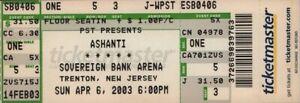 ASHANTI 2003 CHAPTER II TOUR UNUSED TRENTON, N.J. CONCERT TICKET / NMT 2 MINT