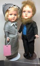 10� Vintage Antique Paper Mache German Amish Pennsylvania Dutch Couple Dolls #Sa
