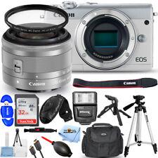 Canon EOS M100 Mirrorless DSLR with 15-45mm Lens (White) + 32GB + Flash Bundle