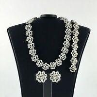 Vintage Crown Trifari Set White Necklace Bracelet Earrings Wedding Jewelry Gift