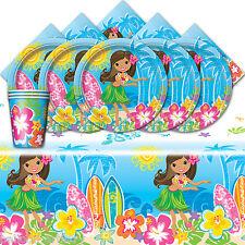 Barbecue d'été Tropical Hawaïen Hula Girl plage enfant partie vaisselle pack pour 16