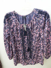 Lucky Brand Womens Purple Embroidered Tie Front Peasant BOHO Top Blouse M 7W6272