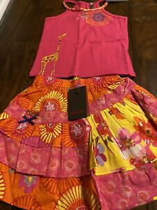 NWT Catimini Spirit Ethnique Giraffe Tank Top Hot pink Ruffle Skirt Size 4