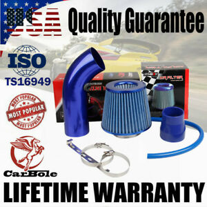 "Air Intake Kit Blue Pipe Diameter 3"" +Cold Air Intake Filter+ Clamp+ Accessories"