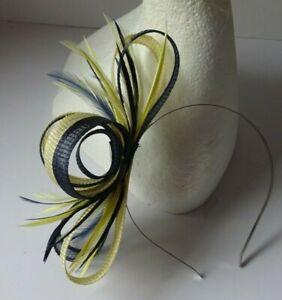 Navy blue Primrose lemon yellow fascinator wedding Mother of the bride Races