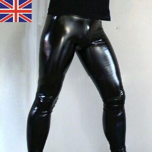 Men's PU Leather Wet Look Pants Tight Leggings Long Trousers Night Club Party UK