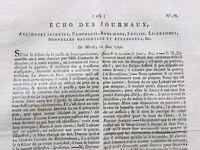 Journal Révolution Française 1792 Grenoble L'Echo des Journaux Autriche