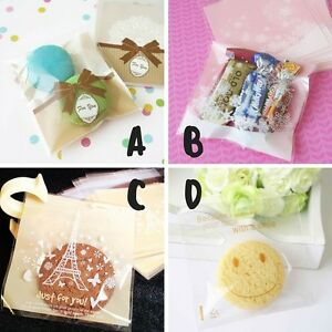 20x Self Adhesive Treat Bags Cookies Macarons Baby Shower Wedding Favour Sweets