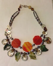 Semiprecious Stone/Shell/Pearl  Beaded Statement Necklace