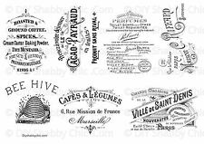 WATER SLIDE DECAL SHABBY CHIC TYPOGRAPHY FRENCH TRANSFER VINTAGE ADVERTS STICKER