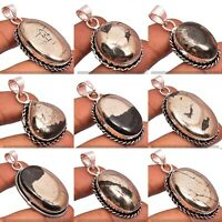 200pcs Pyrite Gemstone Wholesale Lot 925 Sterling Silver Plated Pendants Jewelry