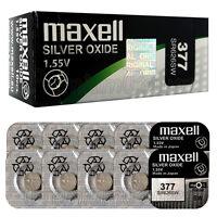 10 x Maxell 377 Silver Oxide batteries 1.55V SR66 SR626SW 376 Watches 0% Mercury