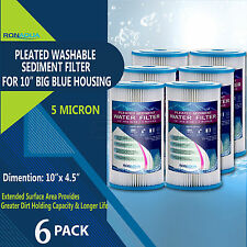 Big Blue Pleated Sediment Water Filters 6 Washable 5 Micron Cartridges 4.5 x 10