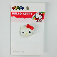 NEW Crocs Kids Hello Kitty 3D White Face Fuchsia Pink Bow Jibbitz Shoe Charm