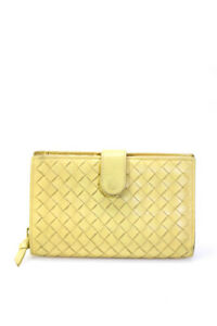 Bottega Veneta Womens Intrecciato Leather Wallet Yellow