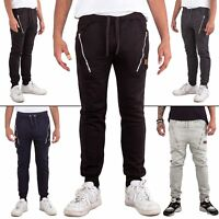 Mens Tracksuit Skinny Gym Zip SweatPants Sports Trousers Bottoms Joggers Jogging